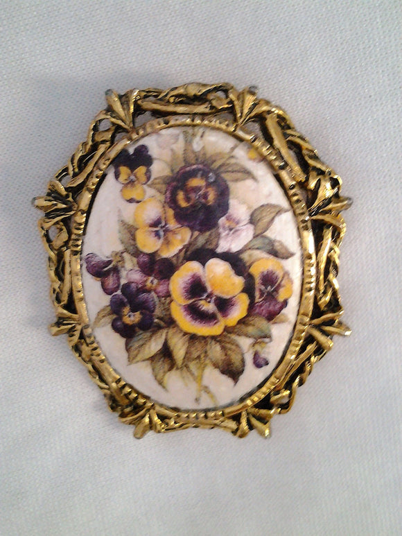 Large Vintage Hand Painted Pansy Floral Brooch Pendant