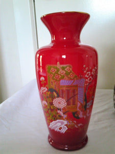 Red Vintage Japanese Cased Vase