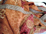 Burnt Orange Sheer Net Vintage Saree Sari 5.5 meters long