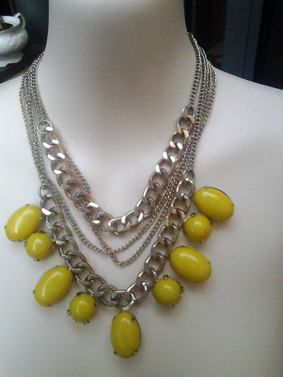 Mid Century Retro Multi Chain Yellow and Gold Coloured Statement Necklace