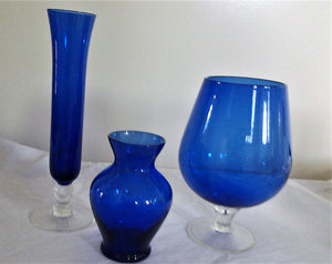 Cobalt Blue Glass Vases Bundle