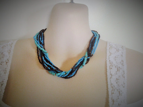 Multi Strand Vintage Turquoise and Amber Seed Bead Necklace