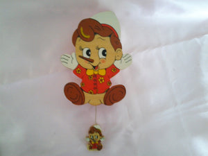 Vintage Nursery Pinnochio Pull Chime -Wooden - Vintage -  Play When you wish upon a Star