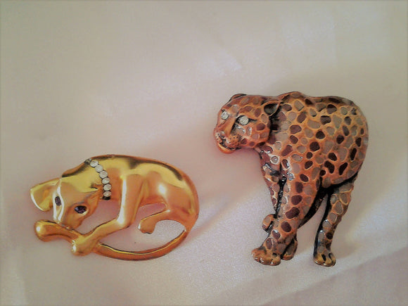 Mid Century Copper and Enamel  Cheetah Brooches
