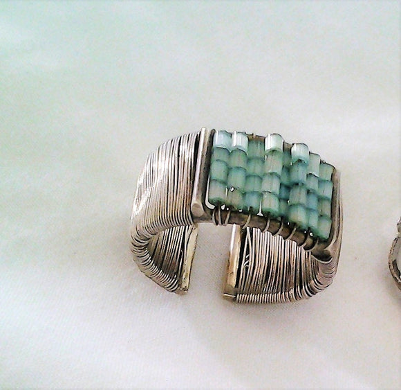 Vintage Handcrafted Silver Wire and Bead Cuff Ring - Size P