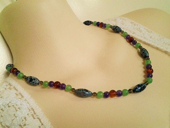 Vintage Gemstone Beaded Necklace - Amethyst, Leopard Jasper, Jade -
