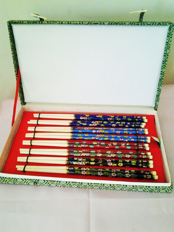 Vintage Boxed Cloisonne Enamel Chopsticks - Eight Pairs