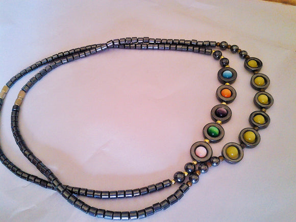Hematite and Cats Eye Beaded Necklace