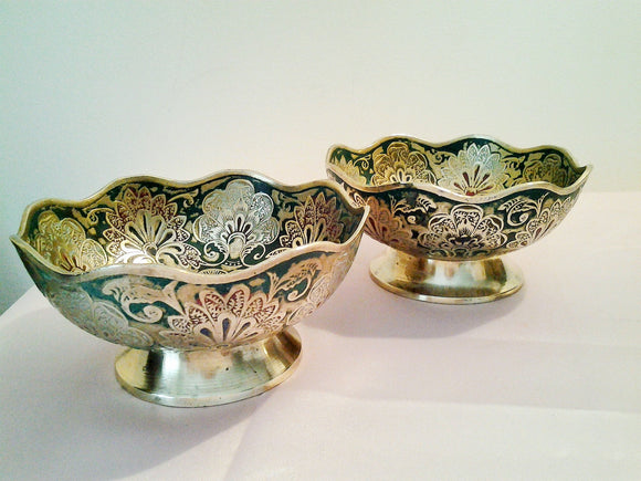 Vintage Pair Brass Etched Peacock Bowls with Scalloped Edge Rim