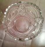 Antique Early American Pattern Glass Vase Saw Tooth Scalloped Rim