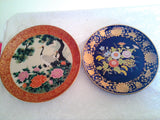 Vintage Japanese Display Plates - Blue  Floral Plate with Gold Detail + Dark Red Japanese Herron Plate