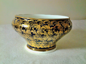 Rare Aynsley Open Sugar Bowl - 1930's - Cobalt Blue Gold Floral Filigree - Design C869
