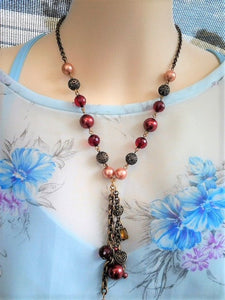 Vintage Copper coloured necklace Y lariat with Pinks and Reds