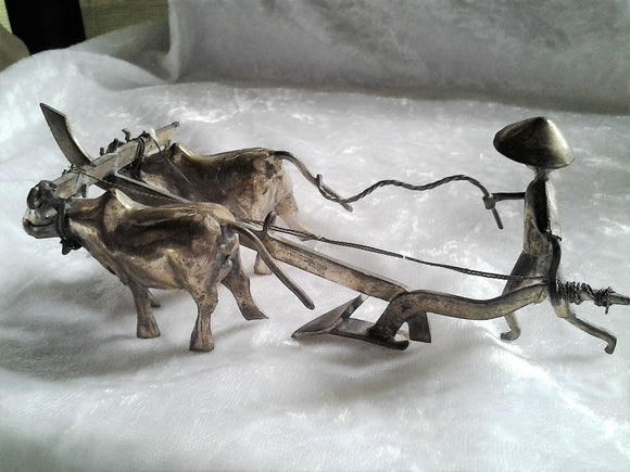 Vintage Handcrafted Metal Asian Farmer with Bullocks