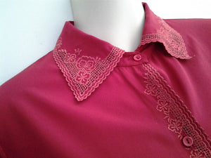Vintage Ladies Long Sleeve Silky Dark Red Blouse Cut Out Embroidered Collar