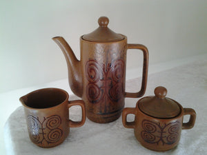 Retro Pottery Coffee Set pot - Sugur Bowl - Creamer with Butterfly Design- Japan - Vintage