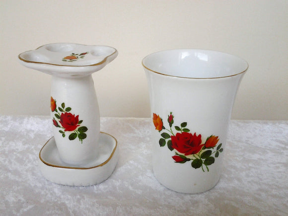 Vintage Ceramic Sink Set - Toothbrush Caddy Holder and matching Tumbler