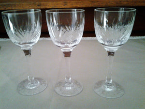 Three Vintage Edinburgh Crystal Long Stemmed Liqueur Glasses