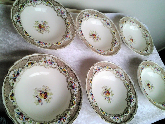 1950s Grindley Royal Petal Dessert Bowls Set of Six Chatsworth Exotic Birds Design