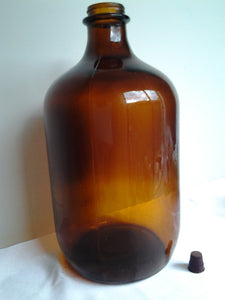 Massive Amber Glass Bottle 5 litres Threaded top Vintage