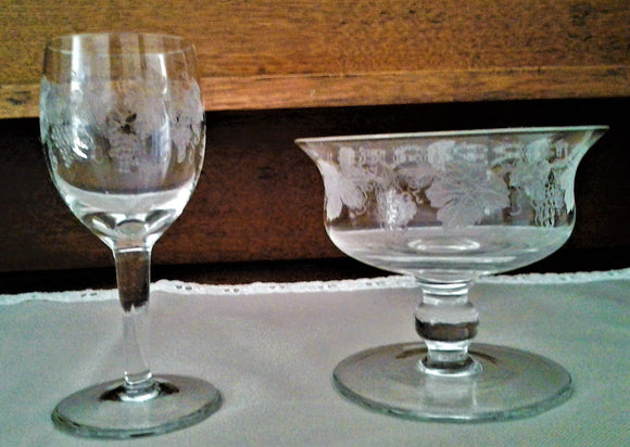 Vintage STUART CRYSTAL Etched Grape & Vine Dessert Glass/Bowl and Matching Sherry Glass