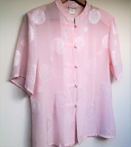 Vintage Sheer Pink Asian Inpired Short Sleeve Blouse Size 14