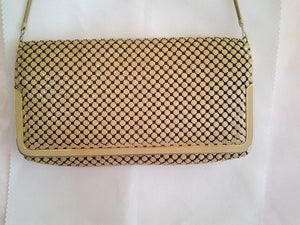 Beige Mesh Evening Bag.