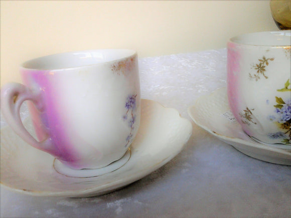 Pair Embossed Tea Cups Purple WIsteria and Pink Espresso Cups Mad Hatters Party  Morning Tea
