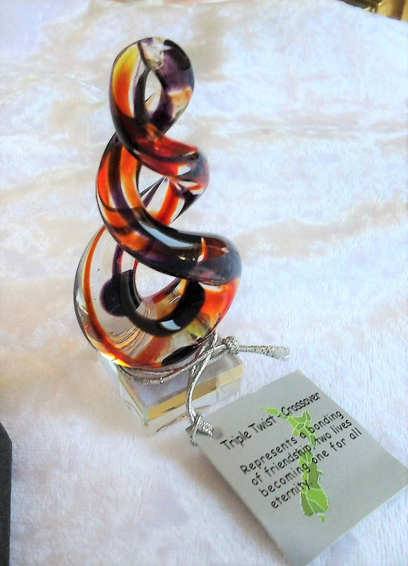 Hand Crafted Triple Twist Crossover Art Glass