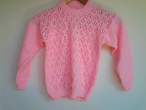Vintage Hand Knit Pink Girls Jumper Sweater Size 4 size 5