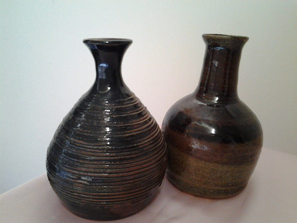 Two Australian Pottery Earthenware Bottle Vases - Vintage
