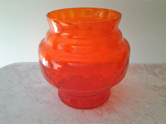 Vintage Italian Tangerine Optic Glass Jar Vase Honeycomb Optic