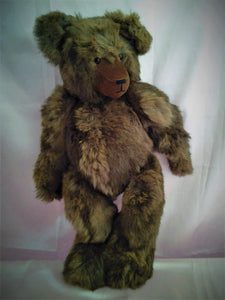Large Fully Jointed Handmade Teddy Bear - Recycled Fur Jacket