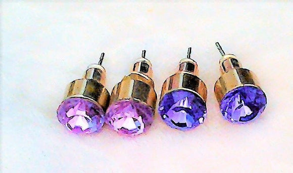 Sterling Silver Studs with Purple Amethyst Crystal Stone  Vintage