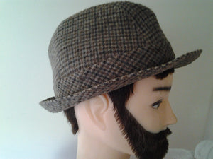 Vintage Childs Tweed Fedora Hat -