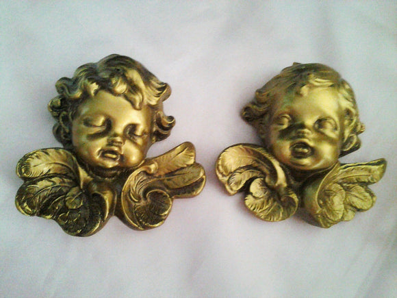 Vintage Gold Hanging Cherubs Angels
