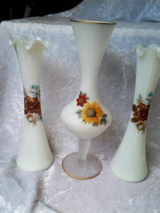 Bundle Three Vintage Wedding Decor Vases  Milk glass and Frosted Glass