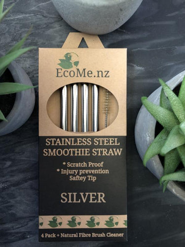 Stainless Steel Smoothie Straws - 4 Pack
