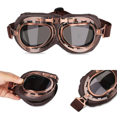 Vintage Motorcycle Goggles Gray