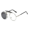 Flip Up Steampunk Sunglasses Silver