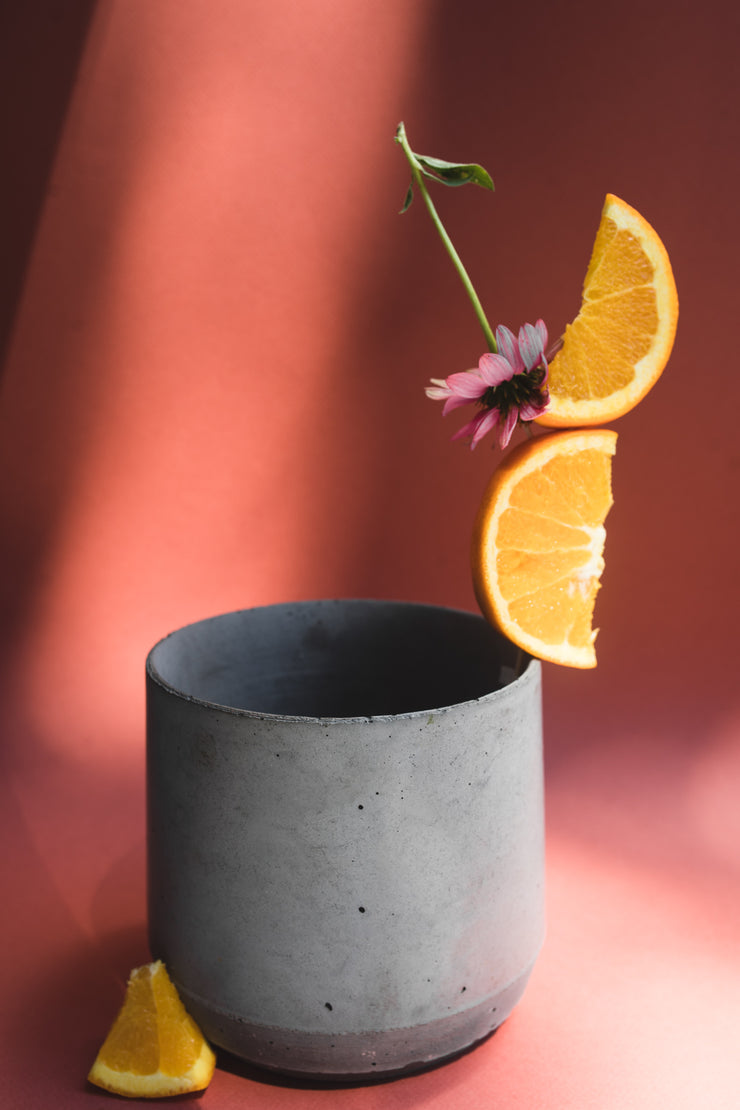 Concrete planter charcoal