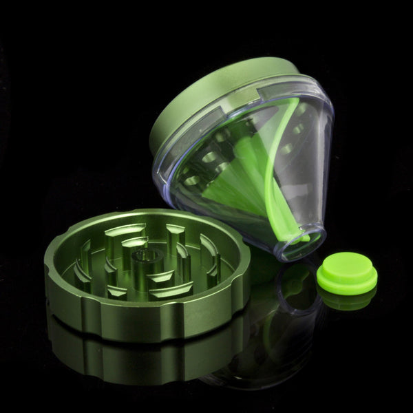 Save It For Later - Ground up a bit too much? Each grinder comes with a rubber stopper for the dispenser funnel, so you can safely store any extra material for later.