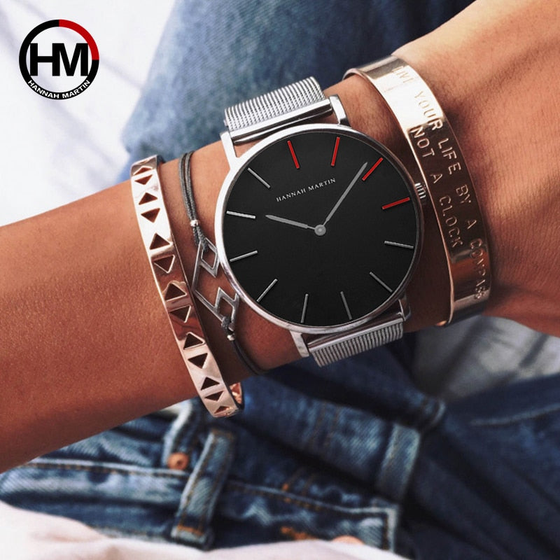 Hannah Martin Red Pointers Stainless Steel Ladies Watch