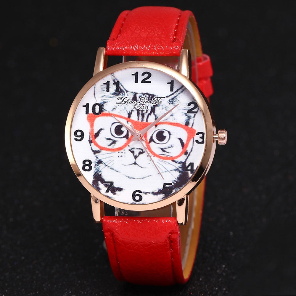Cute Cat Leather Band Analog Quartz Watch for Women