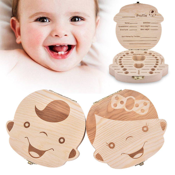 Wood Storage Box For Baby Kids Tooth Box Organizer Storage Box For Baby Milk Teeth Collect Organizador Spanish&English Case