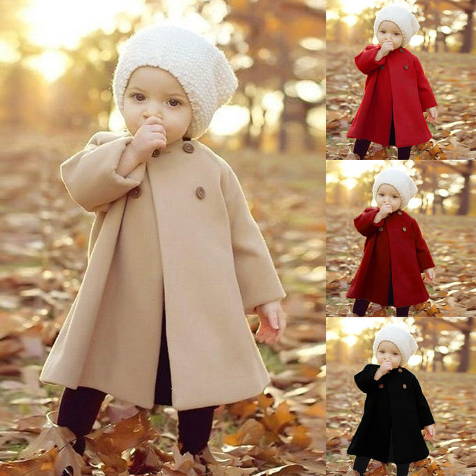 MUQGEW Winter Overalls For Girls Autumn Winter Girls Kids Baby Outwear Cloak Button coat baby girl clothes winter overalls
