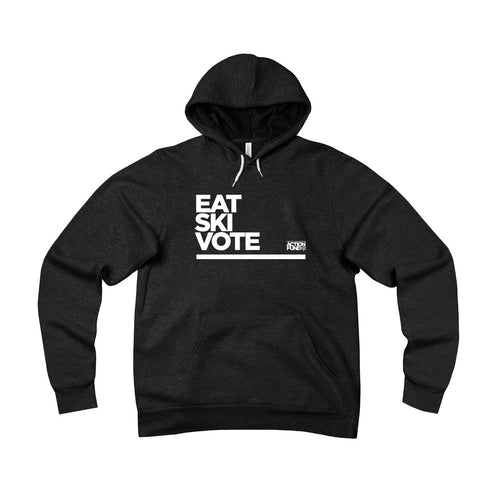 Unisex Eat. SKI. Vote. Fleece Pullover Hoodie