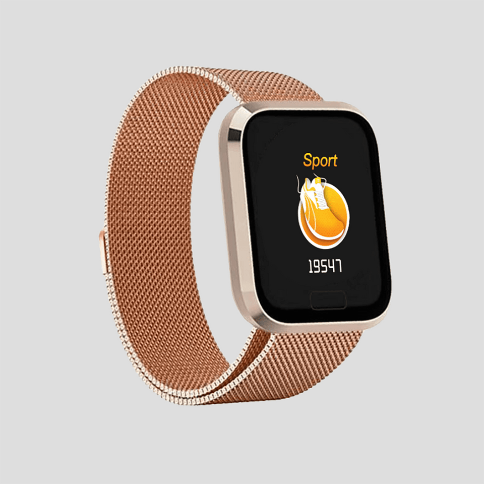 Activity tracker Smartwatch  i rustfrit stål sort/sølv/rosegold