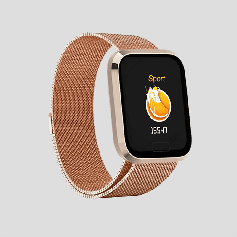 Activity tracker Smartwatch i rustfrit stål sort/sølv/rosegold Konkurspriser ny Rose gold