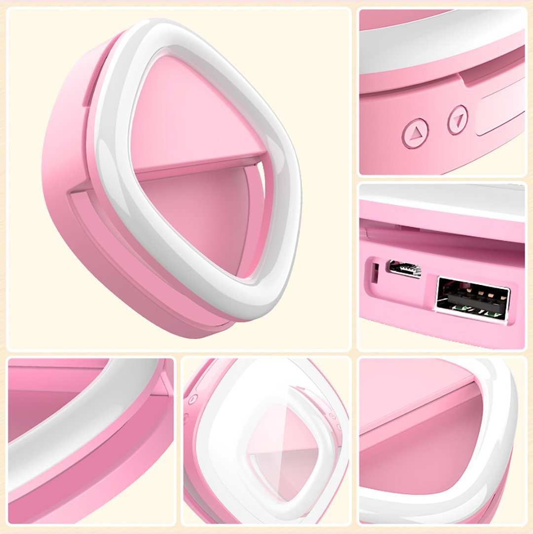 Image of   Selfie led lys ring med indbygget powerbank (Pink)